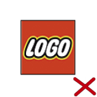 You may not modify the LEGO logo text or display your own design that looks similar to the LEGO logo.