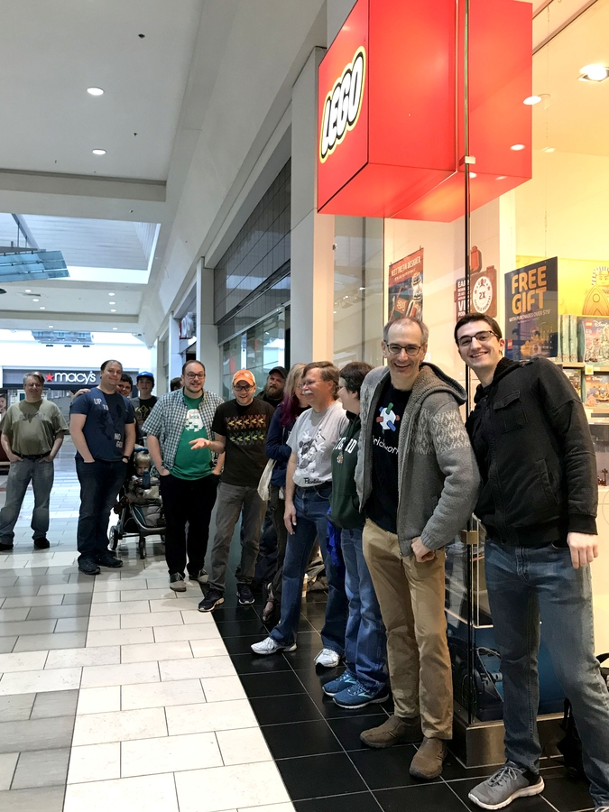 Grant, Jason, and the line before the store opened.