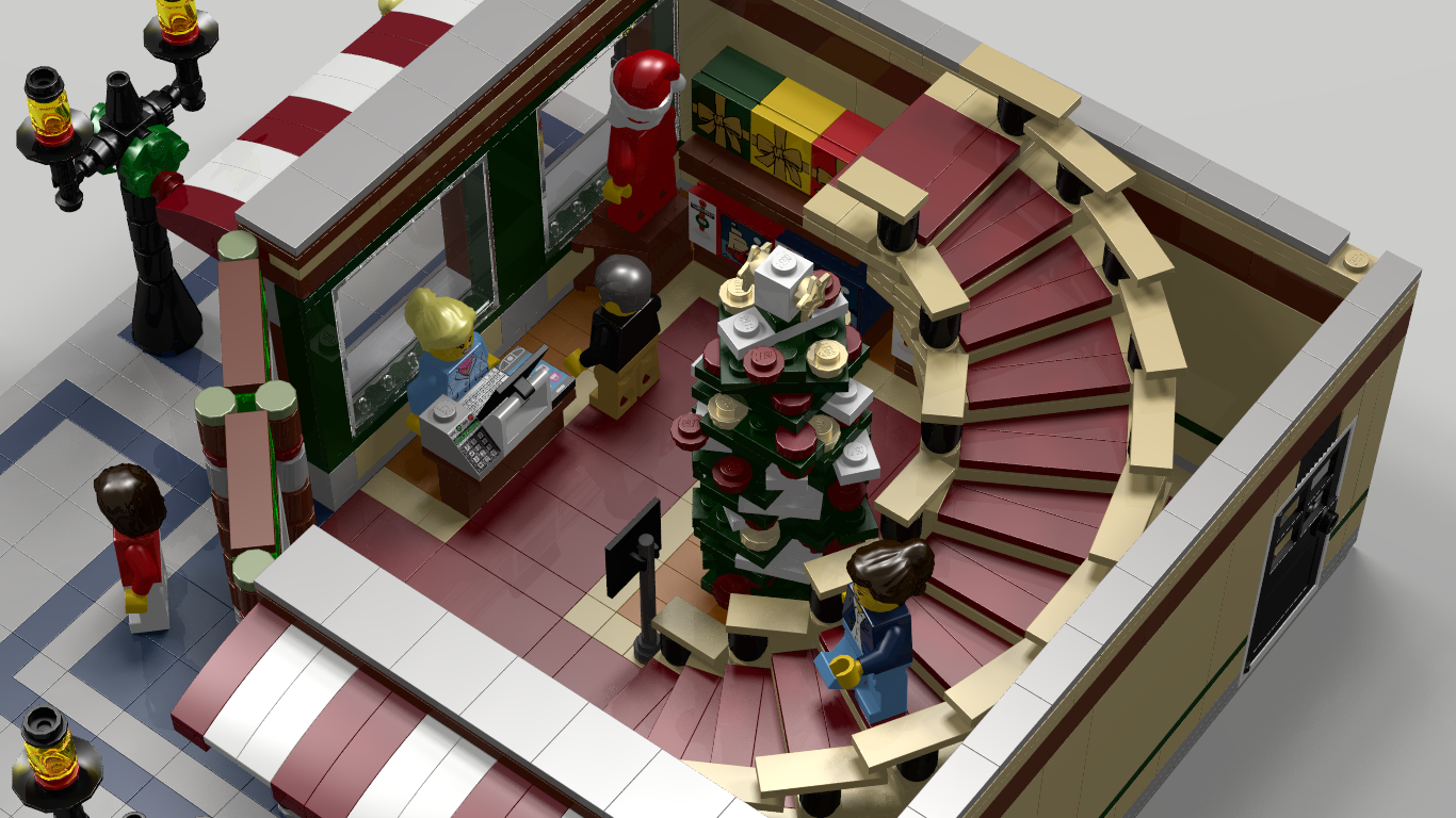 Lego Ideas Product Modular Winter Toy Shop 10249 Exclusive Fortunately The Sales Manager Realized That Were Markedly Seasonal And Santas Toys Not Enough To Occupy Two Floors